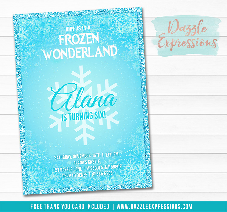 Frozen Inspired Invitation 1 - FREE thank you card