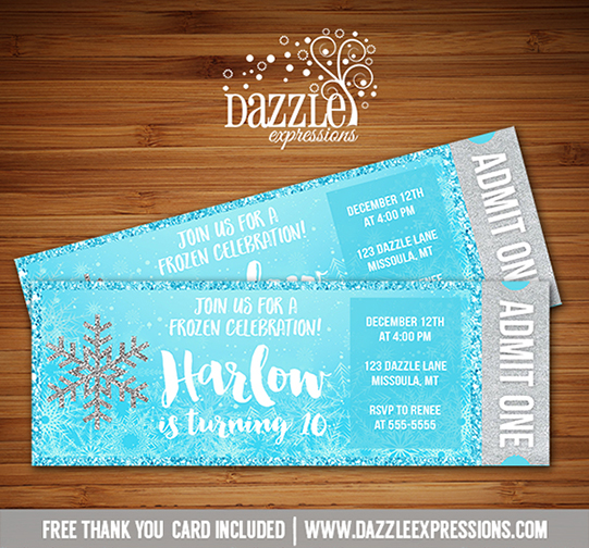 printable glitter snowflake frozen ticket birthday invitation - winter wonderland