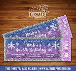 Winter Glitter Ticket Invitation 2 - FREE thank you card included