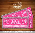 Winter Glitter Ticket Invitation 3 - FREE thank you card included