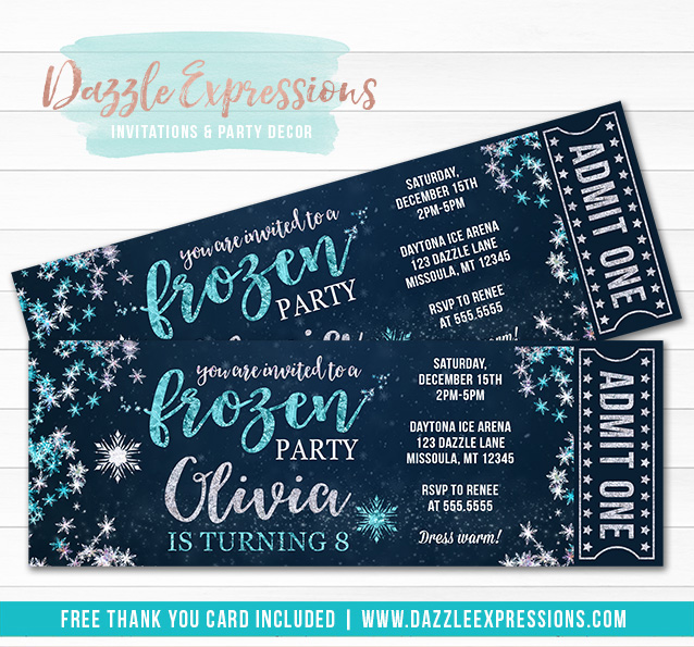 Frozen Snowflake Ticket Invitation - FREE thank you card included