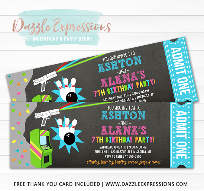 Fun Center Ticket Invitation - Double Party - FREE thank You Card