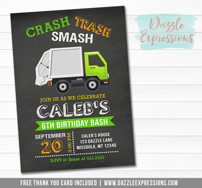 Garbage Truck Chalkboard Invitation 1 - FREE thank you cad