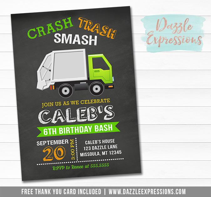 Garbage Truck Chalkboard Invitation 1 - FREE thank you cad