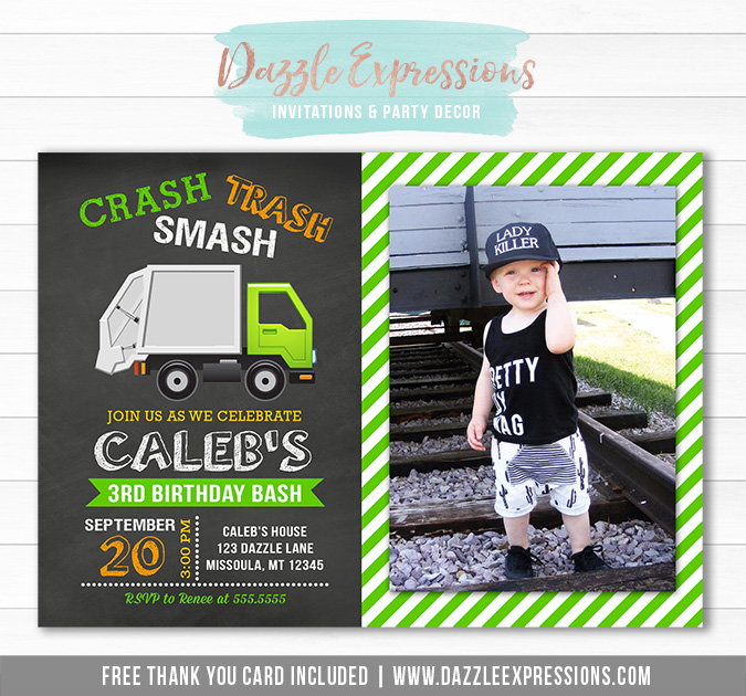 Garbage Truck Chalkboard Invitation 2 - FREE thank you cad