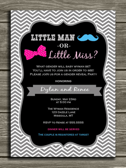Chevron Gender Reveal Party Invitation Baby Shower Mustache – Baby Gender Reveal Party Invitations
