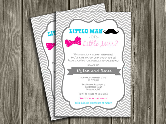 Mustache and Bow Chevron Gender Reveal Party Invitation Baby – Gender Reveal Party Invitations
