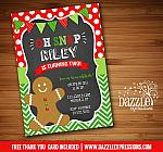 Gingerbread Man Chalkboard Invitation - FREE thank you card inlcuded