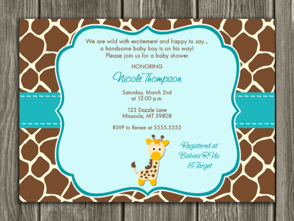 Giraffe Baby Shower Invitation 2 - FREE thank you card included