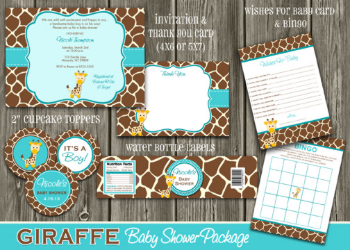 Giraffe Baby Shower Party Package   DIY