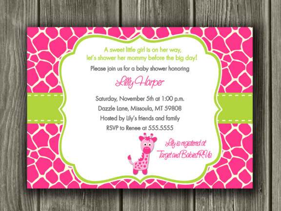 Pink Giraffe Baby Shower Invitation - FREE thank you card included