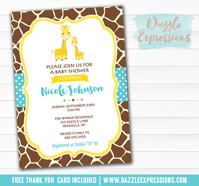 Printable Giraffe Baby Shower Invitation Jungle Baby Boy