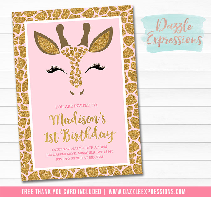 Giraffe Pink And Gold Invitation