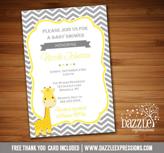 Chevron Giraffe Baby Shower Invitation - FREE thank you card included