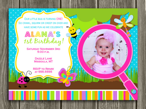 Bug Birthday Invitation - girl - thank you card included
