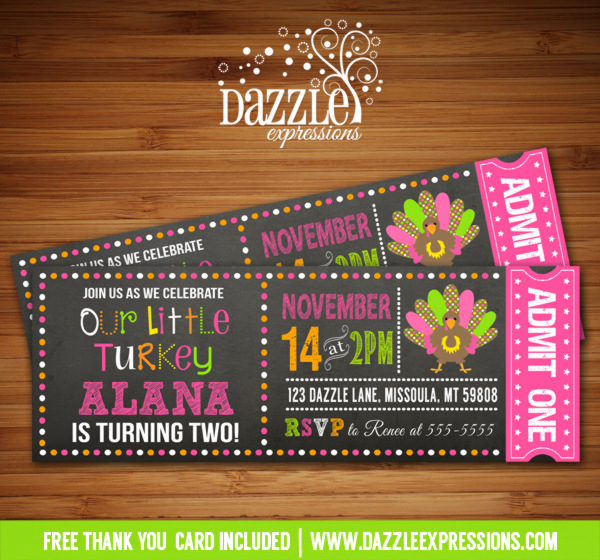 Turkey Chalkboard Ticket Birthday Invitation 2 - FREE thank you card included