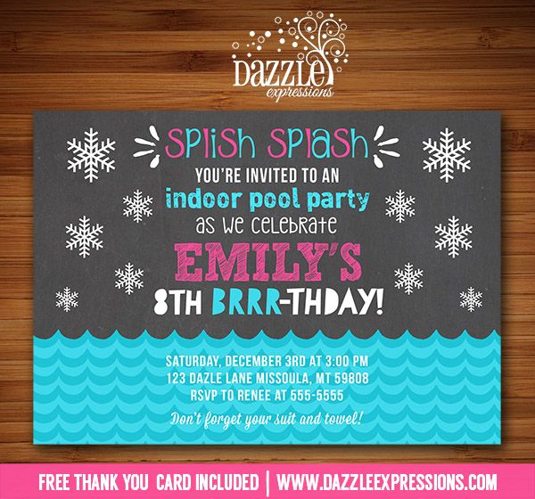 Free Printable Winter Pool Party Invitations Birthday Invitation – Winter Pool Party Invitations