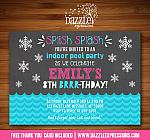 Winter Indoor Pool Party Chalkboard Invitation 1- FREE thank you card included