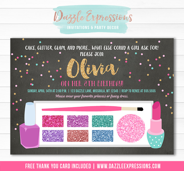Glamour Girl Makeup Birthday Invitation - FREE thank you card included