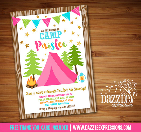 printable pink and gold glamping birthday invitation camping party