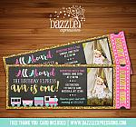 Pink and Gold Train Ticket Chalkboard Invitation - FREE thank you card