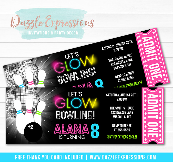 Glow Bowling Ticket Invitation - FREE thank you card