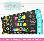 Glow in the Dark Chalkboard Ticket Invitation 2 - FREE thank you card
