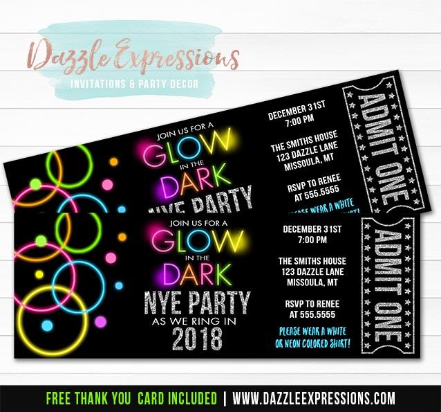 Glow in the Dark New Years Eve Ticket Invitation