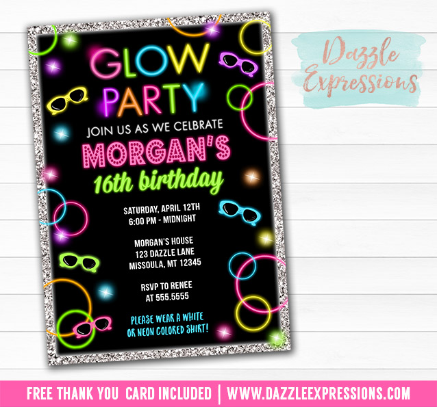 Printable Glow in the Dark Birthday Ticket Invitation Disco – Printable 16th Birthday Invitations