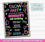 Glow in the Dark Birthday Invitation 1 - FREE thank you card