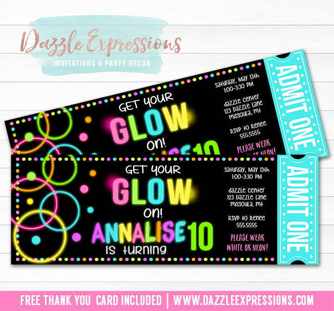 printable girl glow in the dark chalkboard ticket birthday invitation - neon - blacklight
