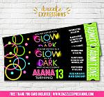 Glow in the Dark Ticket Invitation 3 - FREE thank you card
