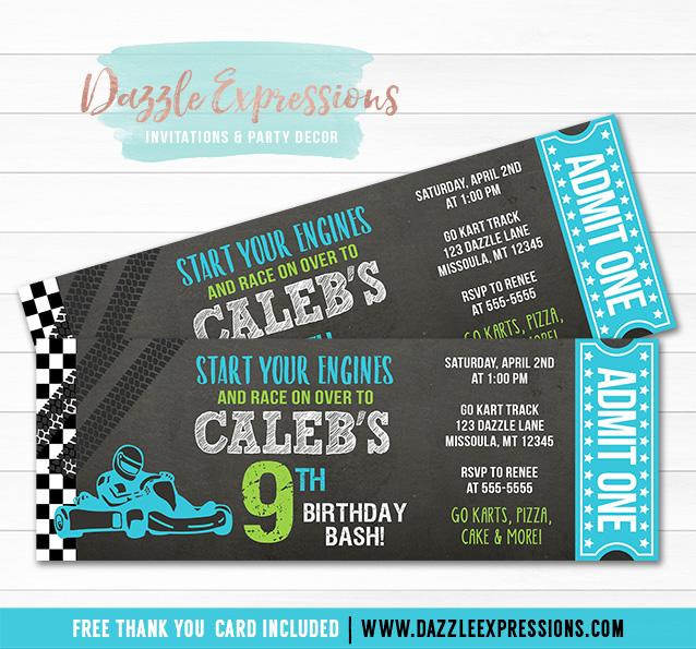 Go Kart Chalkboard Ticket Invitation 1 - FREE thank you card