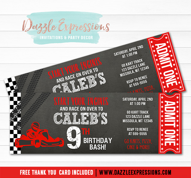 printable go kart chalkboard ticket birthday invitation - race car track