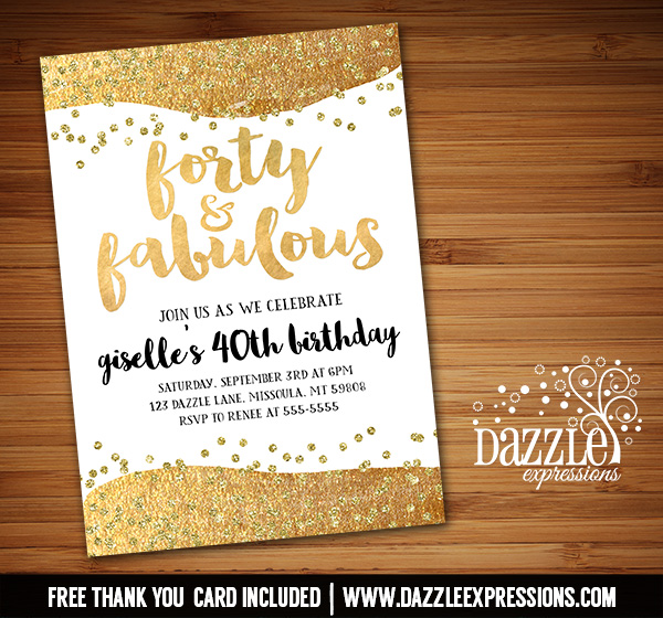 Fabulous Gold Birthday Invitation