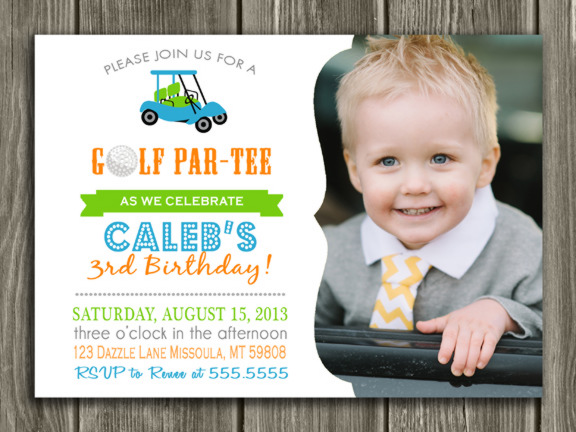 Golf Birthday ParTEE Invitation - Thank You Card Included