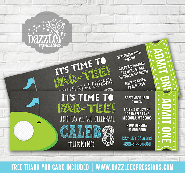 Golf Chalkboard Ticket Invitation Free Thank You Card Included