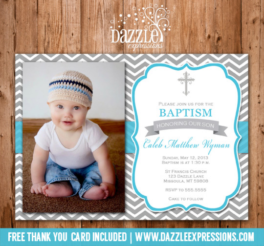 Printable Modern Blue and Gray Chevron Baptism or Christening