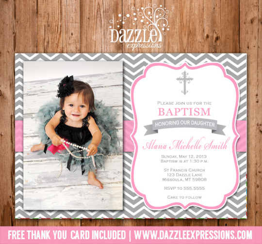 Printable girl baptism or christening invitation pink and gray baptism or christening invitation 3 thank you included stopboris