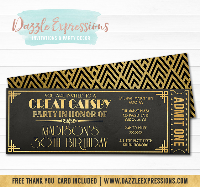printable the great gatsby chalkboard ticket birthday invitation