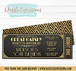 Great Gatsby Chalkboard Ticket Invitation - FREE Thank You Card and Back Side