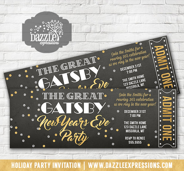Cake New Years Eve Tickets : Printable Great Gatsby Inspired New Years Eve Party Ticket ...