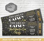 Great Gatsby Inspired New Years Eve Ticket Invitation