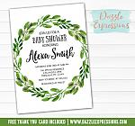 Green Wreath Baby Shower Invitation - FREE thank you card