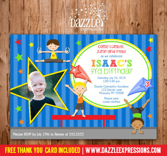 Gymnastics Boy Birthday Invitation - FREE thank you card