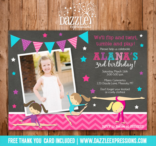 Gymnastics Girl Chalkboard Birthday Invitation