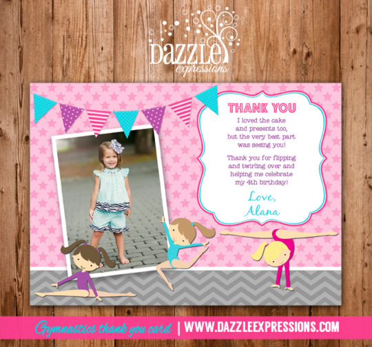 Gymnastics Photo Thank You Card - Printable