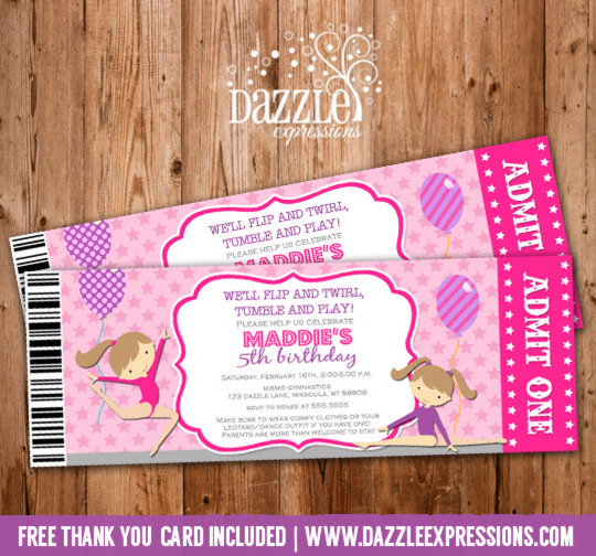 Printable Gymnastics Ticket Birthday Invitation Ballet Tumbling