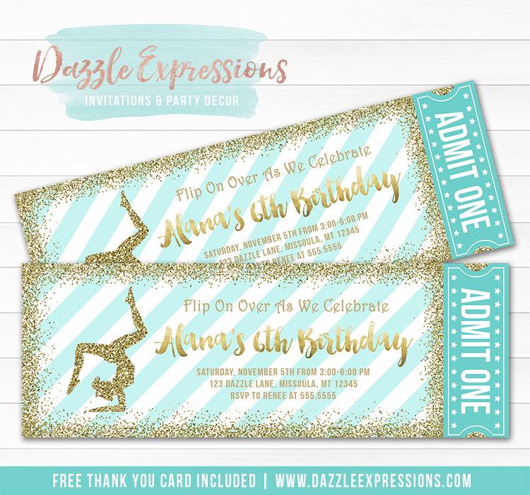 Gymnastics Glitter Ticket Invitation 2 - FREE thank you card