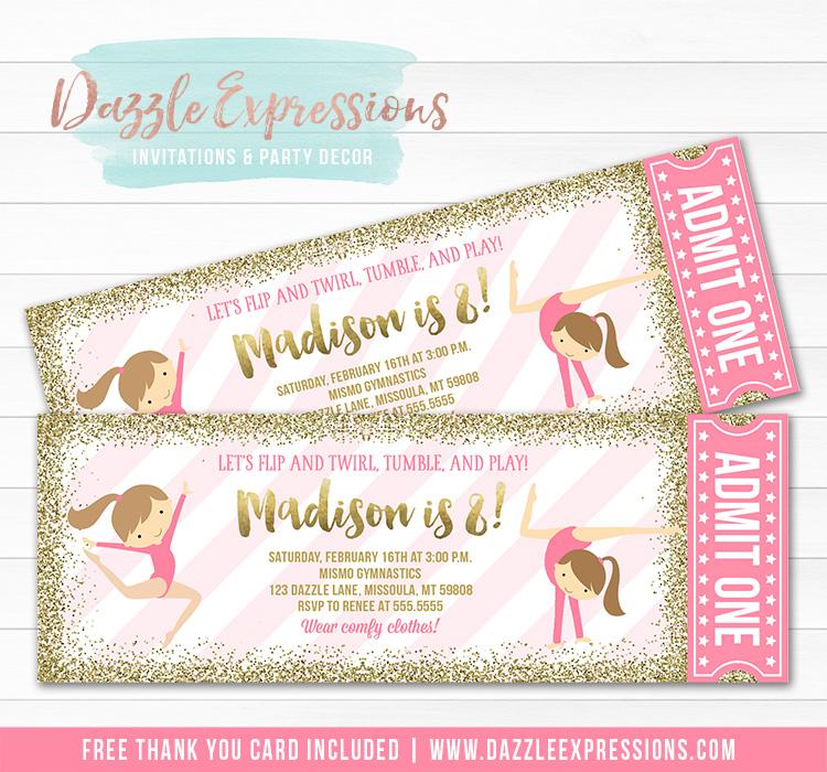Gymnastics Glitter Ticket Invitation 4 - FREE thank you card4